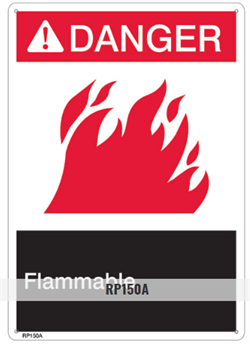 Brooks RP150A ANSI Z535 Rigid Plastic DANGER FLAMMABLE Sign - 10