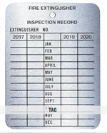 Brooks - Metal 4 Year Fire Extinguisher Inspection Tag