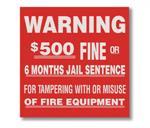 "Brooks BL123 Vinyl Self-adhesive ""WARNING - $500 Fine..."" Sign - 4"