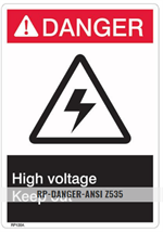 Brooks RP139A ANSI Z535 Rigid Plastic DANGER HIGH VOLTAGE Sign - 10