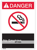 Brooks RP140A ANSI Z535 Rigid Plastic DANGER NO SMOKING Sign - 10