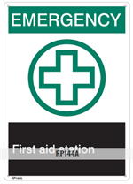 Brooks RP144A First Aid Sign FIRST AID - Rigid Plastic, 7