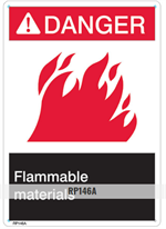 Brooks RP146A ANSI Z535 Rigid Plastic DANGER FLAMMABLE LIQUIDS Sign - 10