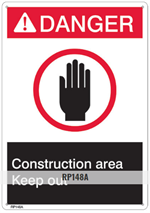Brooks RP148A ANSI Z535 Rigid Plastic DANGER CONSTRUCTION AREA Sign - 10